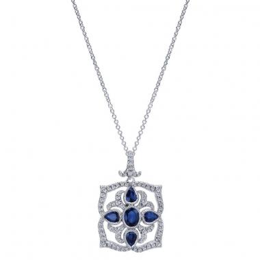 14K White Gold Pave and Sapphire Diamond Pendant