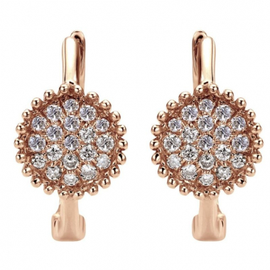 14K Rose Gold Pave Diamond Accented Hoop Earrings (online only)