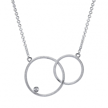 Sterling Silver Double Circle Diamond Necklace