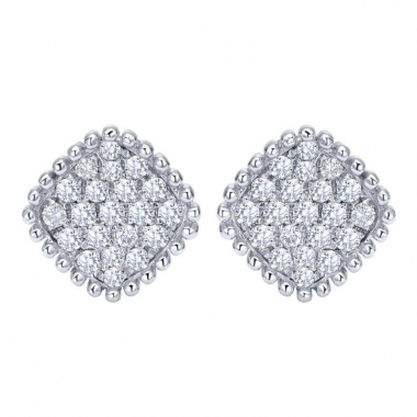 14K White Gold Square Pave Fashion Earrings