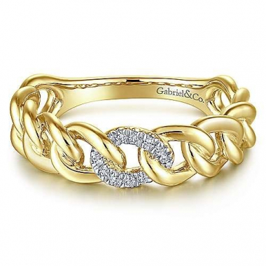 14K Yellow Gold 0.05ctw Diamond Chain Link Stackable Band