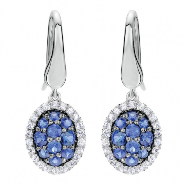 Sterling Silver Multi-Color Sapphire Halo Earrings