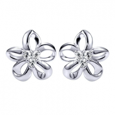 Sterling Silver Floral White Sapphire Earrings