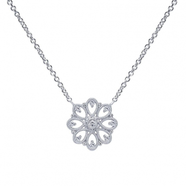 Sterling Silver White Sapphire Snowflake Necklace