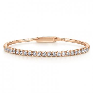 14K Rose Gold 1ctw Diamond Bangle Bracelet