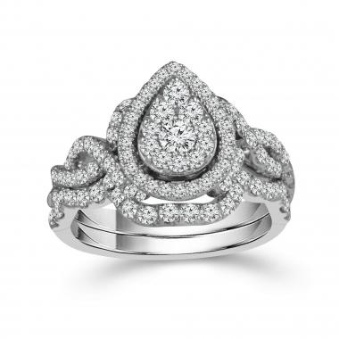 10k White Gold 7/8ctw Halo Style Diamond Engagement Ring and Wedding Band