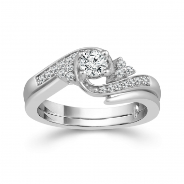 10k White Gold 3/8ctw Bypass Style Diamond Engagement Ring and Wedding Band