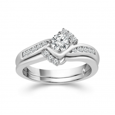 10kt White Gold 1/2ctw Diamond Engagement Ring and Wedding Band