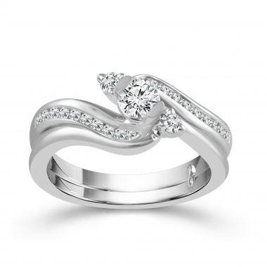 10k White Gold 5/8ctw Bypass Style Diamond Engagement Ring and Wedding Band