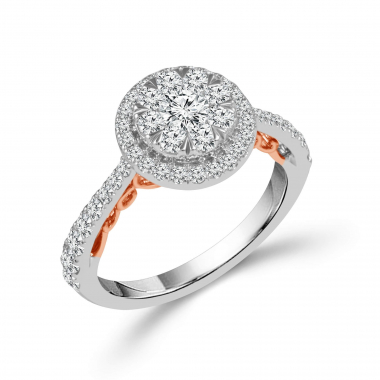 14kt Two Tone 1-1/4ctw Halo Style Diamond Engagement Ring