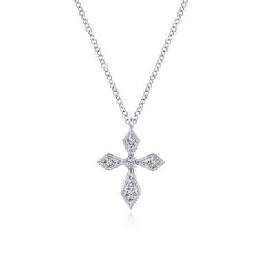 Sterling Silver .07ctw Pointed Diamond Cross Necklace
