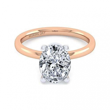 14K Rose Gold 2ct Oval Diamond Solitaire Ring