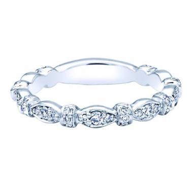 14K White Gold Diamond Stackable Fashion Ring