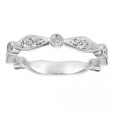 14K White Gold Geometric Stackable Fashion Ring