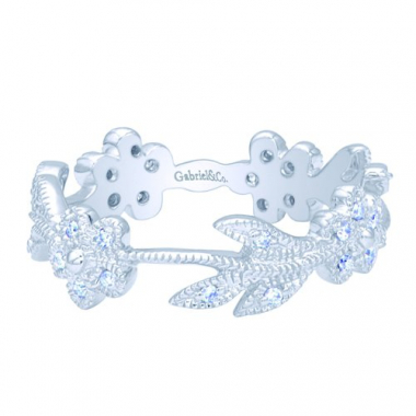 14K White Gold Floral Stackable Fashion Ring