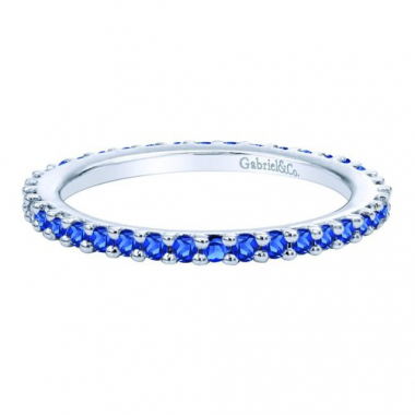 14K White Gold Sapphire Stackable Fashion Ring