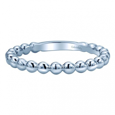 14K White Gold Beaded Stackable Fashion Ring
