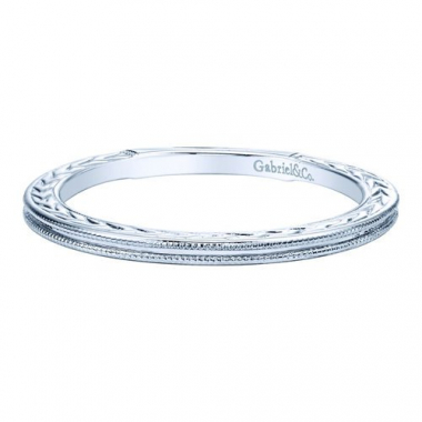 14K White Gold Engraved Stackable Fashion Ring