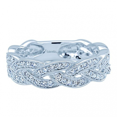 14K White Gold Braided Stackable Fashion Ring