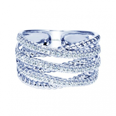 14K White Gold Rope and Pave Diamond Fashion Ring