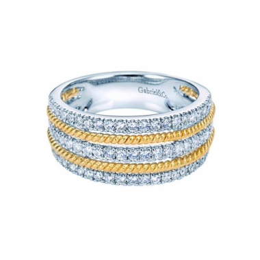 14K Two-Tone Rope and Diamond Fashion Ring