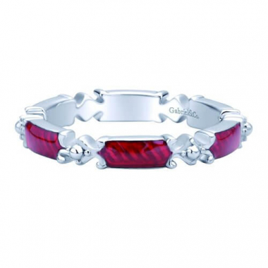 Sterling Silver Red Enamel Stackable Ring