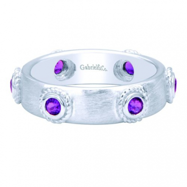 Sterling Silver Amethyst Stackable Fashion Ring