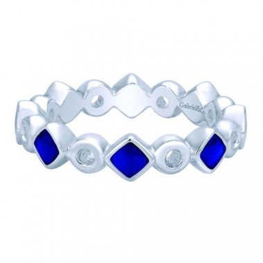 Sterling Silver Blue Enamel Stackable Fashion Ring