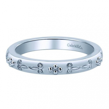 Sterling Silver Fancy Carved Stackable Ring