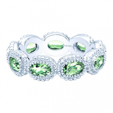 Sterling Silver Green Amethyst Stackable Ring