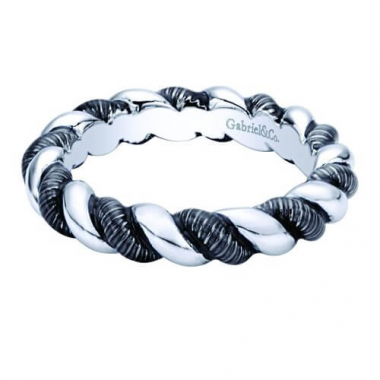 Sterling Silver Braided Blue Enamel Stackable Ring