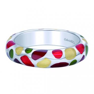 Sterling Silver Multi-Color Enamel Stackable Ring