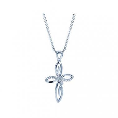 Sterling Silver Diamond Swirl Cross Pendant