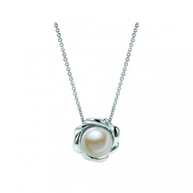 Sterling Silver Carved Floral Pearl Pendant