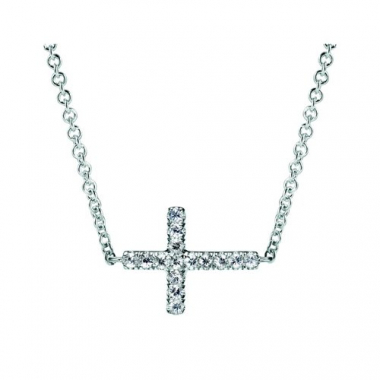 Sterling Silver Cross White Sapphire Necklace