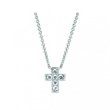 Sterling Silver Cross White Sapphire Pendant