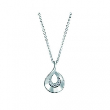 Sterling Silver Brushed White Sapphire Pendant