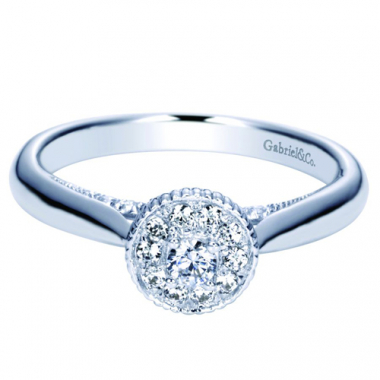 14K White Gold Carved Halo Pre-Set 1/3CTW Ring