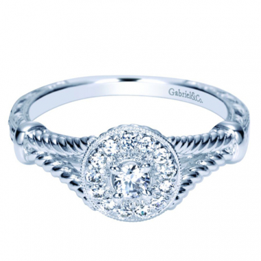 14K White Gold Carved Halo Pre-Set 1/4CTW Ring
