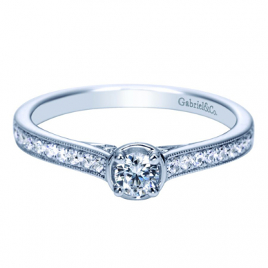 14K White Gold Pave Pre-Set 1/3CTW Engagement Ring