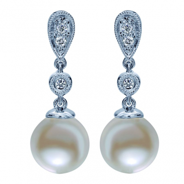 14K White Gold Pearl and Diamond Drop Earrings