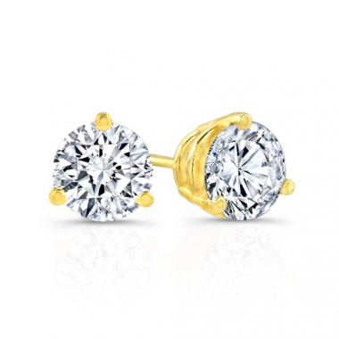 14K Yellow Gold 2 Carat Solitaire Earrings