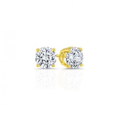 14K Yellow Gold 1/2 Carat Solitaire Earrings
