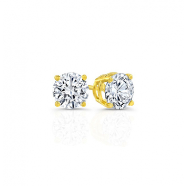 14K Yellow Gold 5/8 Carat Solitaire Earrings