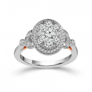 14k Two Tone 1ctw Oval Shaped Halo Style Engagement Ring