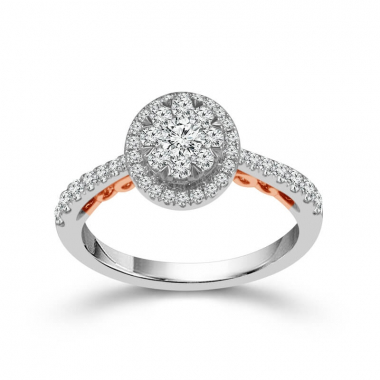10k Two Tone 3/4ctw Oval Shaped Halo Style Diamond Engagement Ring