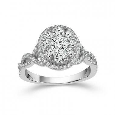 14kt White Gold 1-1/2ctw Oval Shaped Halo Style Diamond Engagement Ring