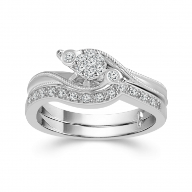10k White Gold 1/5ctw Bypass Style Diamond Engagement Ring and Wedding Band