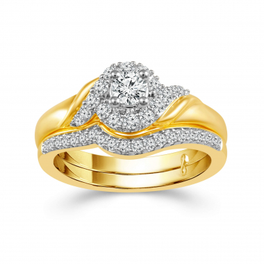 10k Yellow Gold 1/2ctw Diamond Engagement Ring and Wedding Band