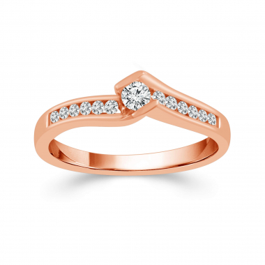 10k Rose Gold 1/4ctw Bypass Style Diamond Engagement Ring